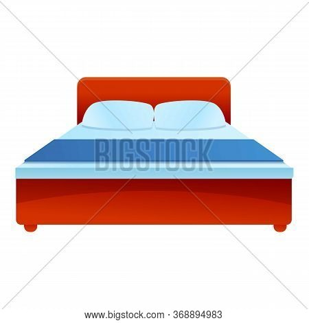 Hotel King Bed Icon. Cartoon Of Hotel King Bed Vector Icon For Web Design Isolated On White Backgrou