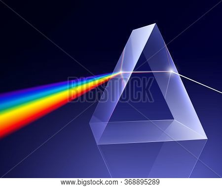 Prism Light Spectrum Realistic Composition With 3d Image Of Bevelled Glass And Rainbow Ray Coming Th