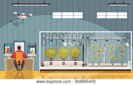 Smart Farm Composition With Indoor View Of Farmstead Building With Plants In Greenhouses And Monitor