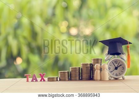Black Graduation Cap, Hat, Student And Kid, Rows Of Rising Coins, White Clock On A Table, Natural Gr