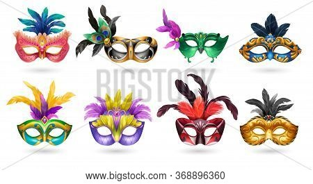Ladies Venetian Carnaval Masquerade Colorful Eye Masks With Feathers Realistic Set White Background