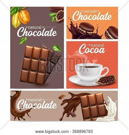Cocoa Realistic Banners Set Of Chocolate Bar  Cacao Beans Cup Of Hot Chocolate Isolated Vector Illus
