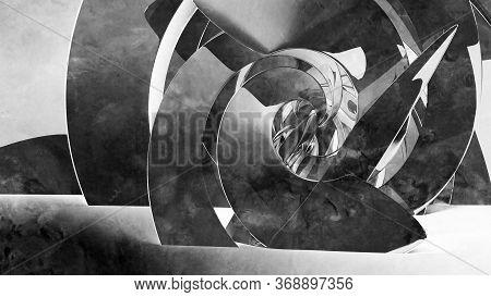Abstract Cgi Background With Dark Spiral Installation, 3d Rendering Illustration