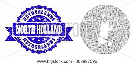 Mesh Vector Map Of North Holland With Grunge Seal Stamp. Triangle Net Map Of North Holland Is A Hole