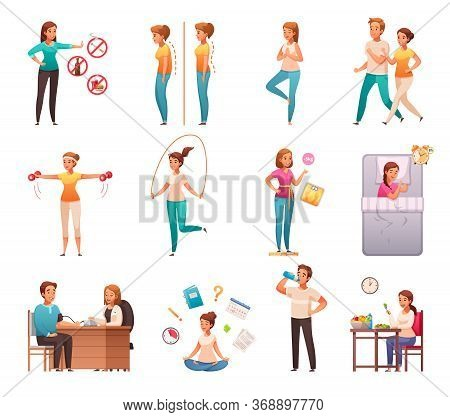 Healthy Lifestyle Habits Cartoon Icons Set With Avoiding Junk Food Alcohol Maintaining Weight Postur