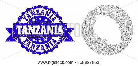 Mesh Vector Map Of Tanzania With Grunge Stamp. Triangular Mesh Map Of Tanzania Is Inverted In A Circ