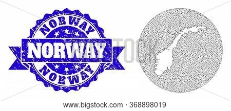 Mesh Vector Map Of Norway With Scratched Seal Stamp. Triangle Network Map Of Norway Is Stencils In A