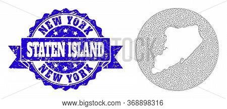 Mesh Vector Map Of Staten Island With Grunge Stamp. Triangular Mesh Map Of Staten Island Is A Hole I
