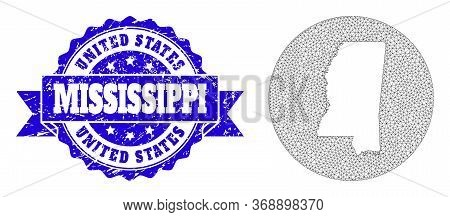 Mesh Vector Map Of Mississippi State With Grunge Seal Stamp. Triangular Net Map Of Mississippi State
