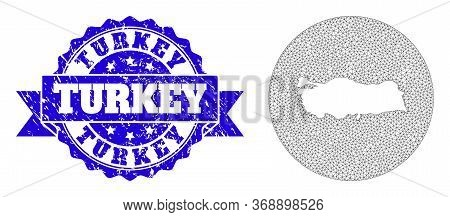 Mesh Vector Map Of Turkey With Grunge Seal Stamp. Triangular Mesh Map Of Turkey Is Stencils In A Rou