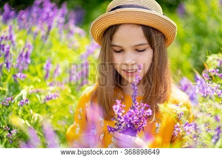 Teen Girl In Hat Picking A Bouquet Of Purple Wildflowers In A Meadow. The Beauty Of Nature. Walks In