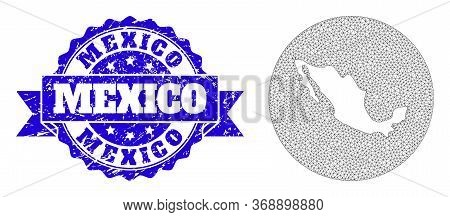 Mesh Vector Map Of Mexico With Scratched Stamp. Triangle Mesh Map Of Mexico Is Subtracted From A Rou
