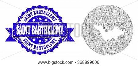 Mesh Vector Map Of Saint Barthelemy With Grunge Seal Stamp. Triangle Mesh Map Of Saint Barthelemy Is