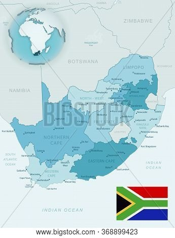 Blue-green Detailed Map Of South Africa Administrative Divisions With Country Flag And Location On T