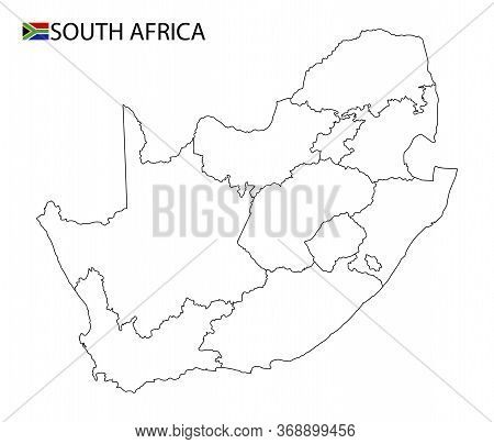 South Africa Map, Black And White Detailed Outline Regions Of The Country.
