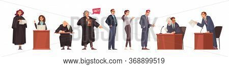 Lawyer Set With Isolated Doodle Style Human Characters Of Court Session Participants With Attorneys
