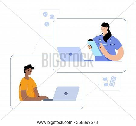 Doctor Consults A Happy Man By Videocall Via Laptop. Flat Isolated Vector Illustration. Medical Post