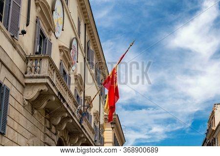 Rome / Italy - May 2, 2015: The Palace Of Spain, Monaldeschi Palace (palazzo Di Spagna), Baroque Pal