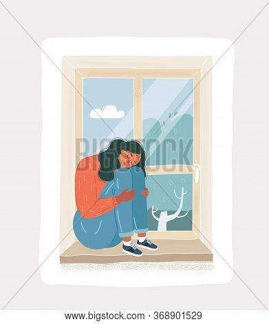 Sad Depressive Cry Girl Looking Out The Window. Sad Depressive Woman Sitting On The Windowsill
