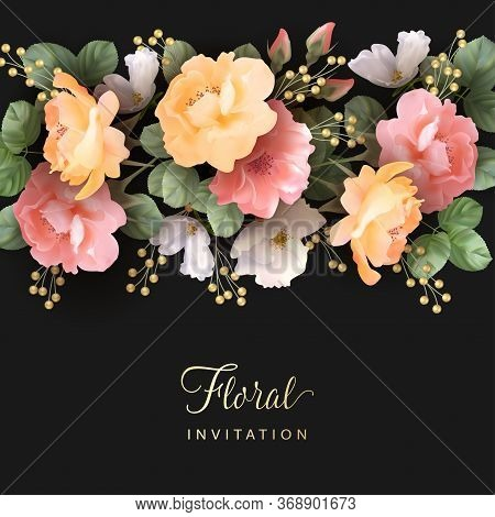 Greeting Card With Roses. Perfect For Birthday, Wedding Invitation Or Greeting Card