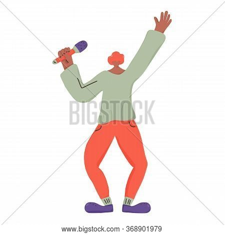 Musician. Singer Standing With Mike. Cute Male Character Having Fun With Microphone. Vector Illustar