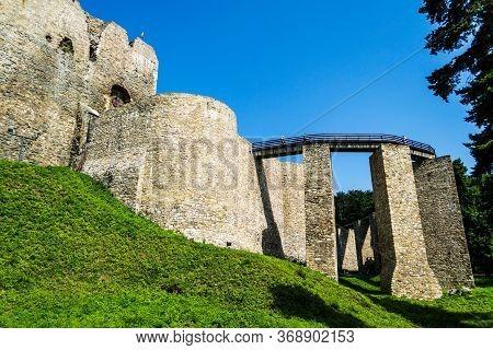 Targu Neamt, Romania - June 22, 2019: Neamt Fortress. Medieval Citadel. Neamt Citadel. Neamt, Romani