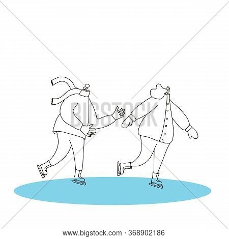 Ice Skaters. Couple Of Persons Dressed In Warm Winter Clothes Skating On The Rink. Vector Illustrati