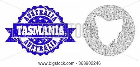 Mesh Vector Map Of Tasmania Island With Scratched Seal Stamp. Triangular Mesh Map Of Tasmania Island