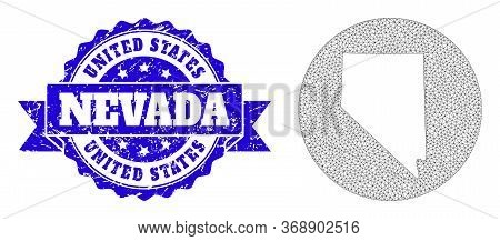 Mesh Vector Map Of Nevada State With Grunge Watermark. Triangular Mesh Map Of Nevada State Is A Hole
