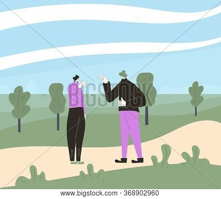 Conflict. Pair Of People During Argument At The Park. Quarrel Concept. Bad Relationship Between Frie