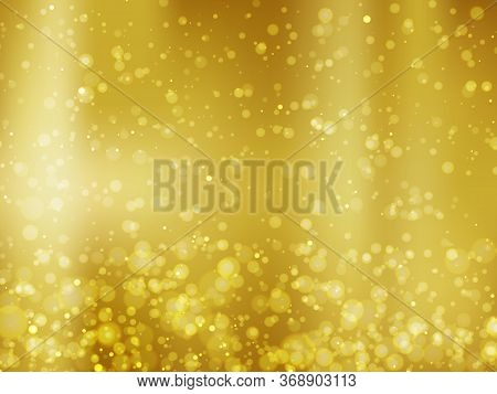 Abstract Colorful Bokeh And Glowing Spakling Shining Particles In Random Gold Color Theme Background