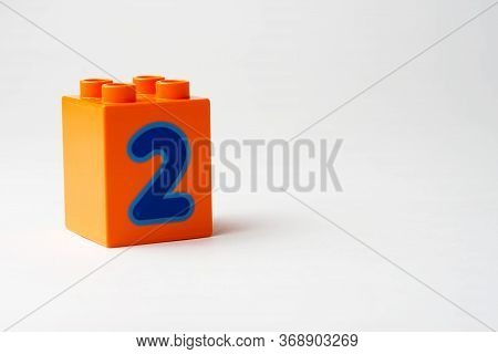 The Number Two Written On The Block From The Childrens Constructor