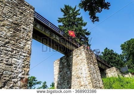 Targu Neamt, Romania - June 22, 2019: Neamt Fortress. Medieval Citadel. Neamt Citadel.