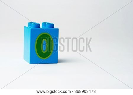 The Number Zero Written On The Block From The Childrens Constructor