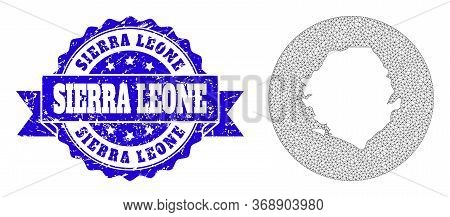 Mesh Vector Map Of Sierra Leone With Scratched Seal. Triangle Mesh Map Of Sierra Leone Is A Hole In