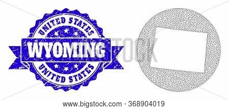 Mesh Vector Map Of Wyoming State With Grunge Watermark. Triangle Mesh Map Of Wyoming State Is A Hole