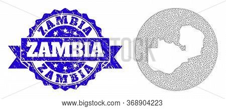 Mesh Vector Map Of Zambia With Scratched Stamp. Triangle Mesh Map Of Zambia Is Stencils In A Round S