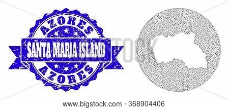 Mesh Vector Map Of Santa Maria Island With Grunge Stamp. Triangular Mesh Map Of Santa Maria Island I