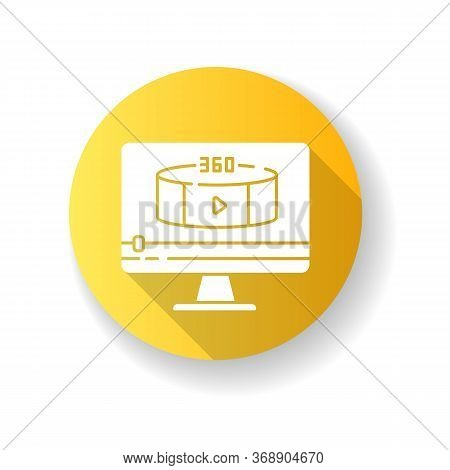 360 Degree View Video Yellow Flat Design Long Shadow Glyph Icon. Virtual Reality Footage Streaming.