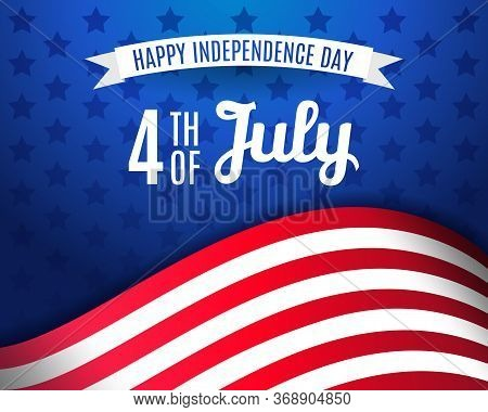 Fourth Of July Greeting Card Template. Happy Independence Day Usa 4 Th July In United States Of Amer