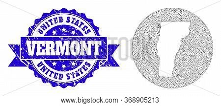 Mesh Vector Map Of Vermont State With Scratched Seal. Triangular Net Map Of Vermont State Is Stencil