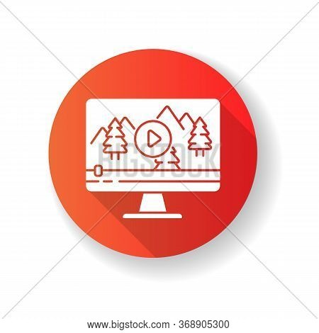 Nature Documentary Red Flat Design Long Shadow Glyph Icon. Travel Blog Video Watching. Ecology And T