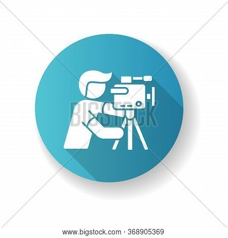 Cameraman Blue Flat Design Long Shadow Glyph Icon. Filmmaking And Videography. Cinematography Indust