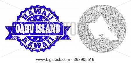 Mesh Vector Map Of Oahu Island With Scratched Seal Stamp. Triangular Mesh Map Of Oahu Island Is Carv