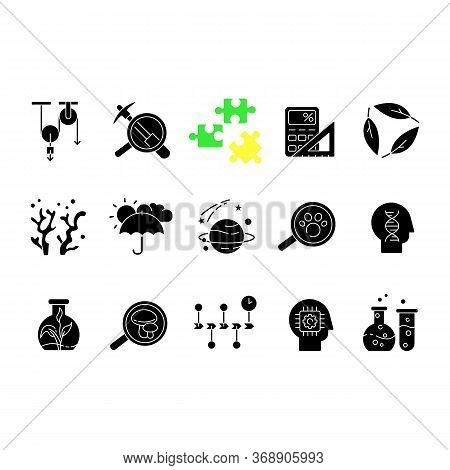 Formal And Pure Science Black Glyph Icons Set On White Space. Different Scientific Disciplines And F