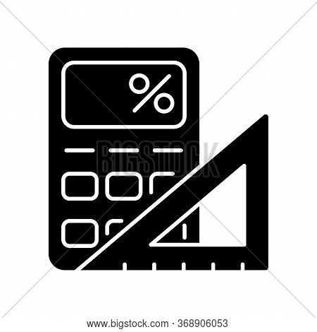 Mathematics Black Glyph Icon. Fundamental Formal Science. School Subject, Scientific Discipline. Alg