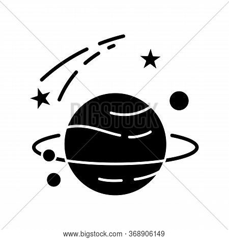 Astronomy Black Glyph Icon. Natural Science, Space Exploration Silhouette Symbol On White Space. Pla