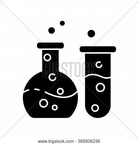 Chemistry Black Glyph Icon. Fundamental Science, Natural Scientific Discipline. Biochemistry, Chemic