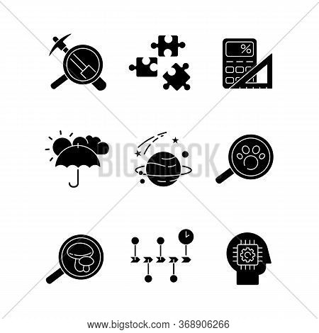 Scientific Fields Black Glyph Icons Set On White Space. Different Branches Of Formal And Natural Sci