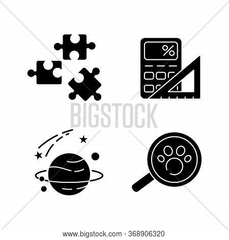 Natural And Formal Sciences Black Glyph Icons Set On White Space. Different Scientific Fields Of Stu